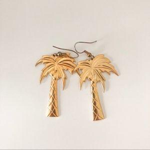 Vintage Gold Palm Tree Earrings